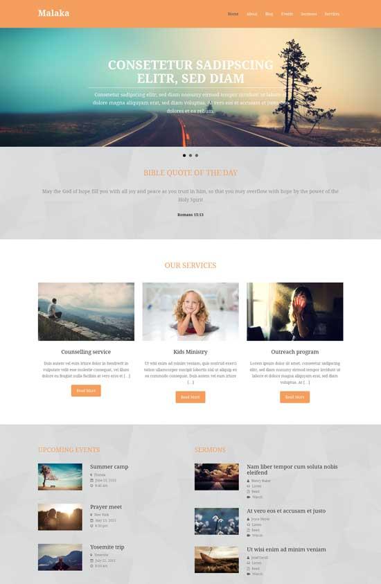 Malaka free fullscreen WordPress theme for church sites