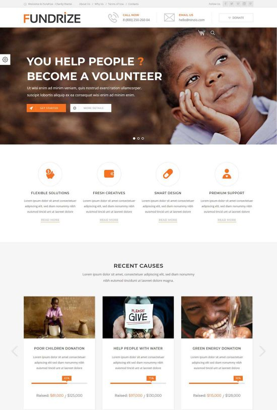 fundrize donation charity wordpress theme