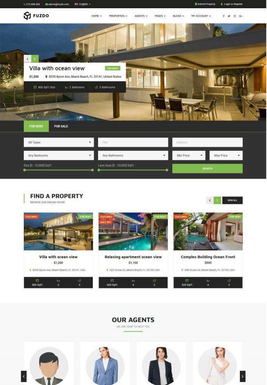 fuzdo real estate wordpress theme
