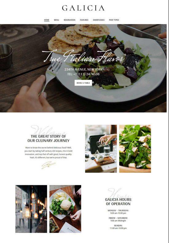 galicia restaurant wordpress theme