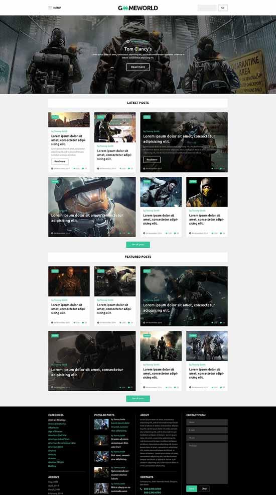 Game world WordPress Theme