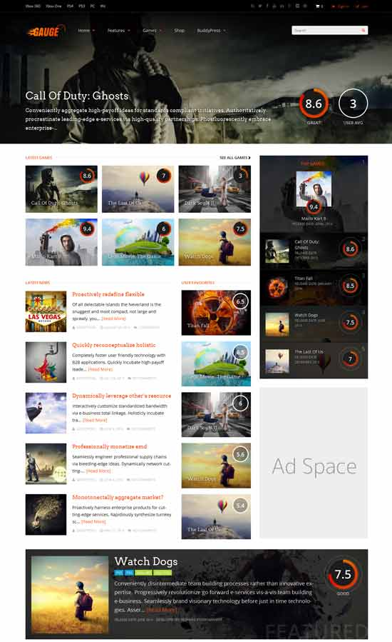 Gauge Gaming Review WordPress Theme