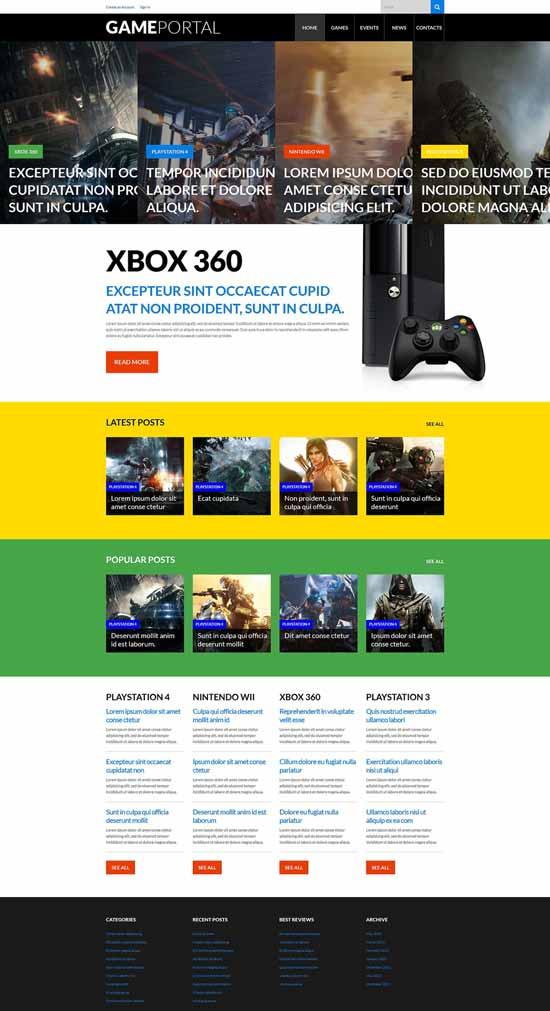 Video Games WordPress gaming theme