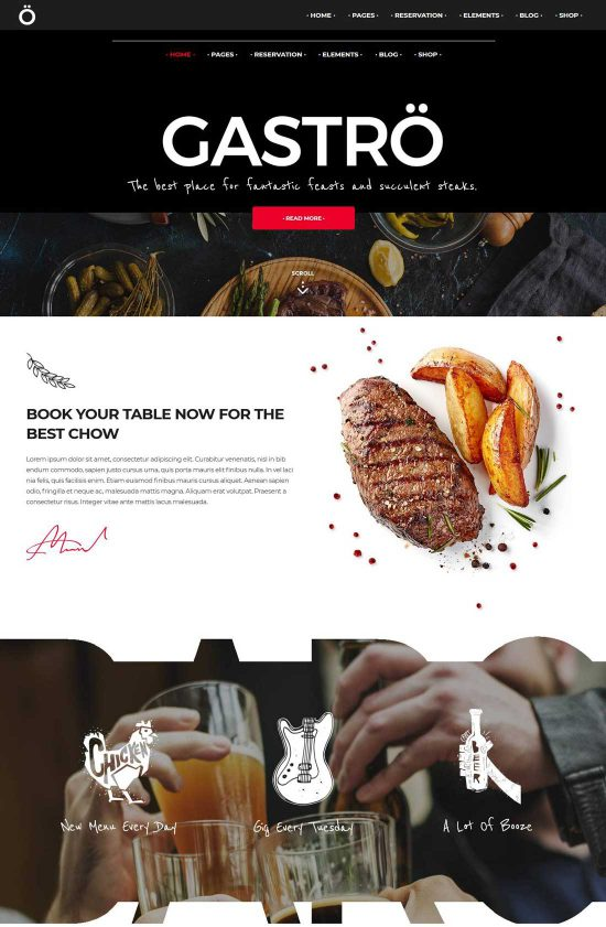 gastrobar theme restaurants wp
