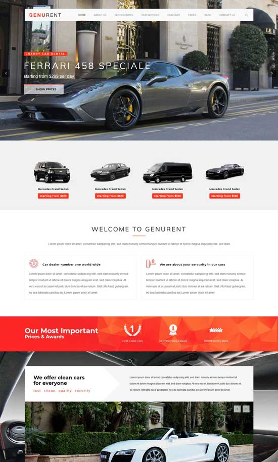 genurent car hire wordpress