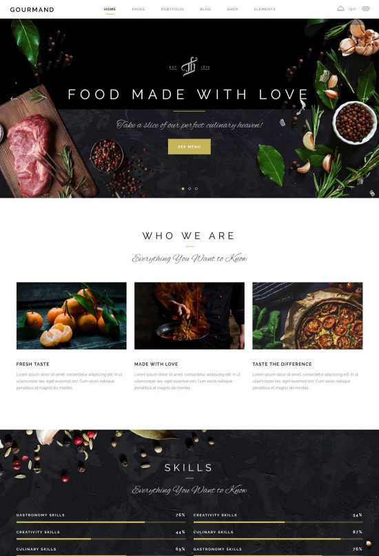 gourmand exquisite restaurant theme