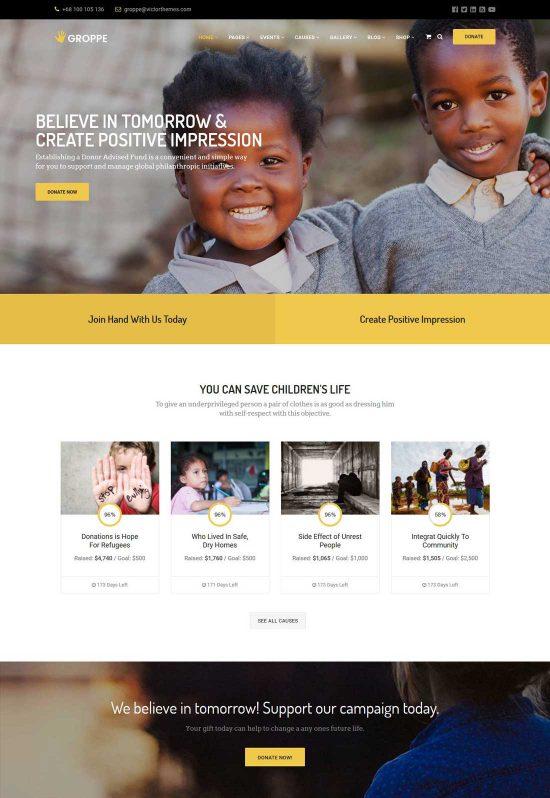 groppe nonprofit wordpress theme