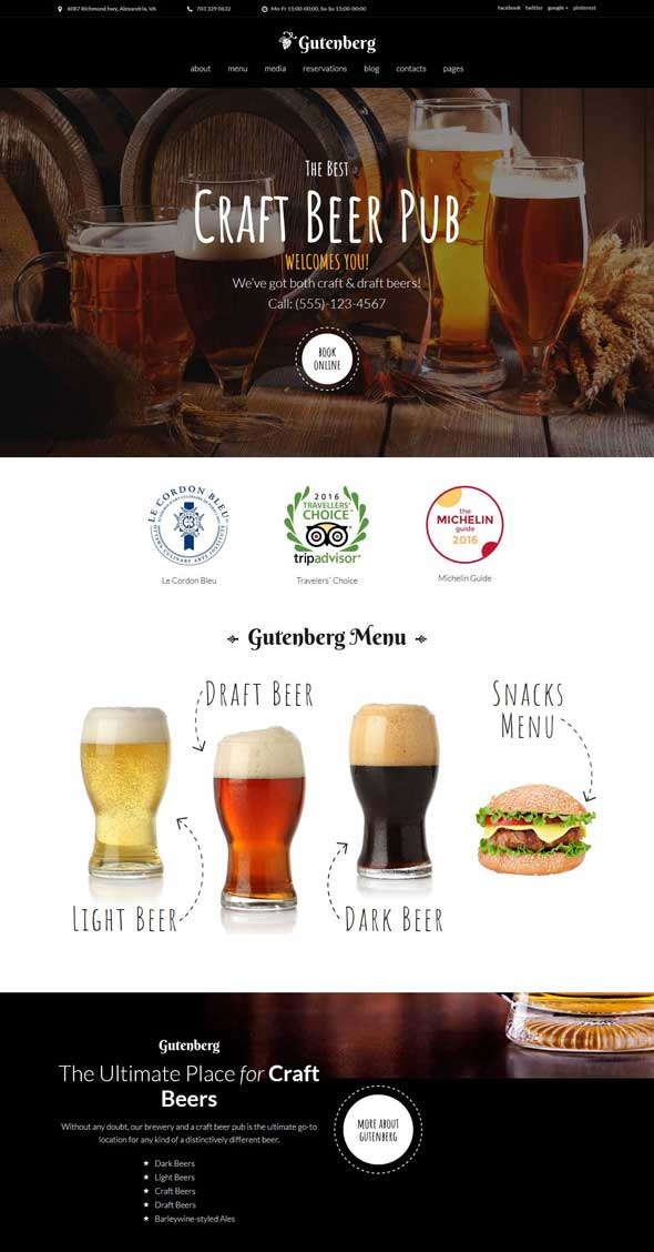 gutenberg beer pub brewery theme