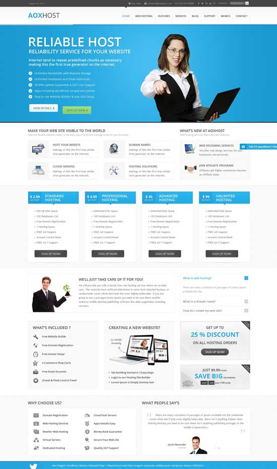 Aox Host clean and creative WordPress hosting theme