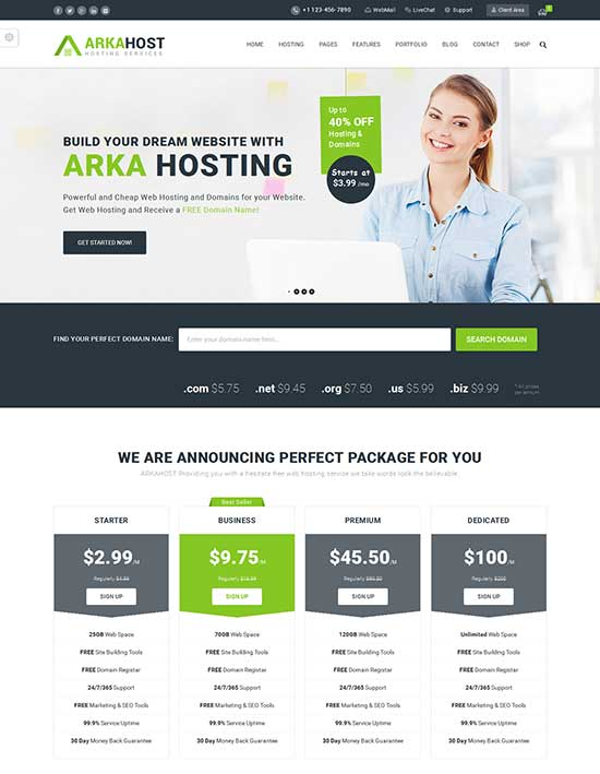 Arka Host - WordPress hosting theme