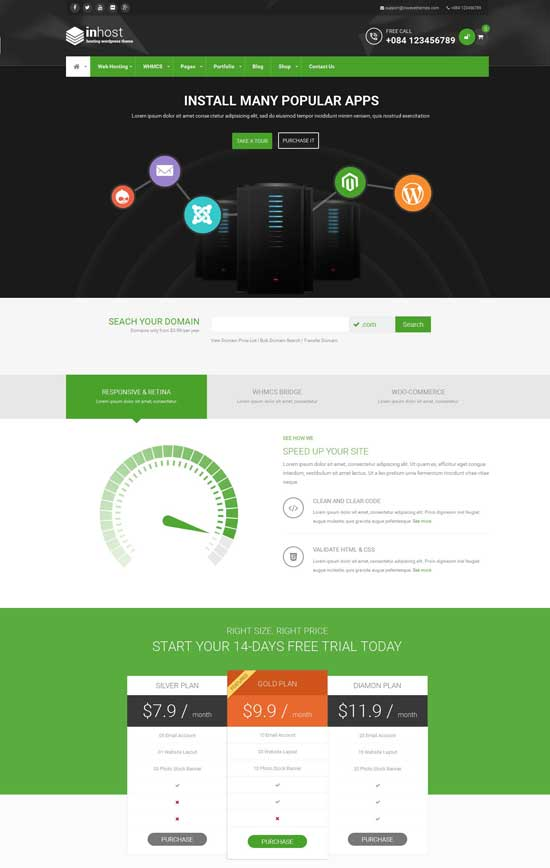 Inhost powerful corporate WordPress hosting theme
