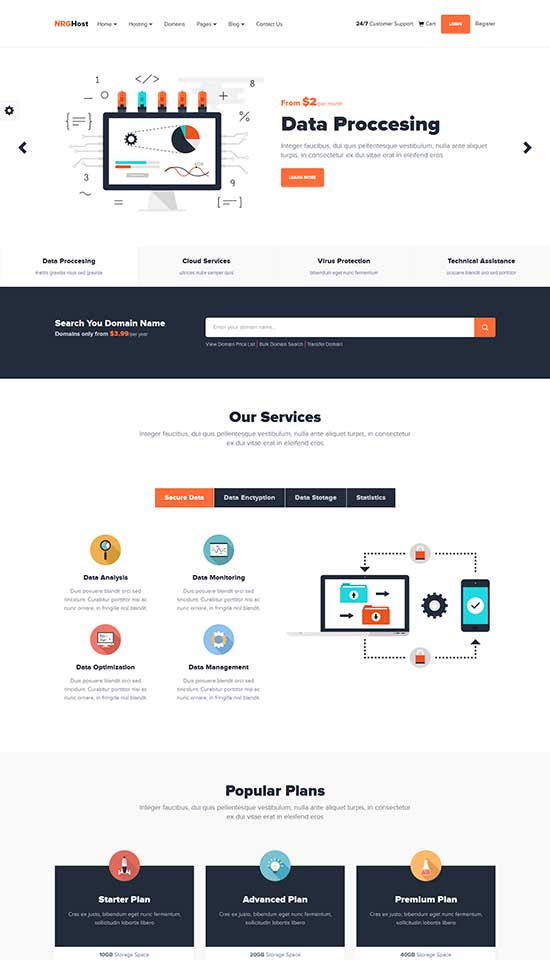 NRGhost - Flat Responsive WordPress hosting theme