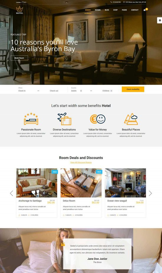 hotel wordpress theme hotel queen