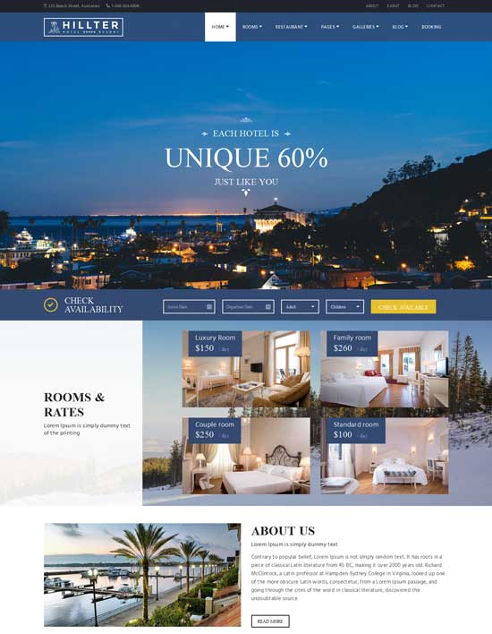 Hillter - Responsive WordPress Hotel Booking theme