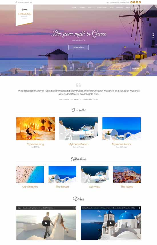 Mykonos Resort - Hotel Theme WordPress