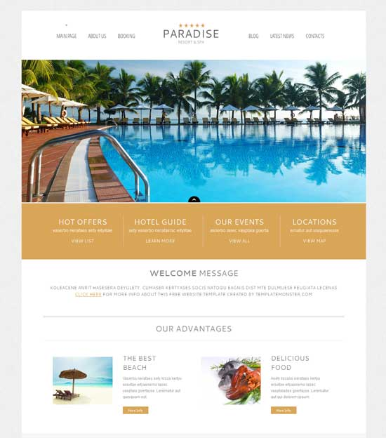 Paradise - Free Hotel WordPress Theme