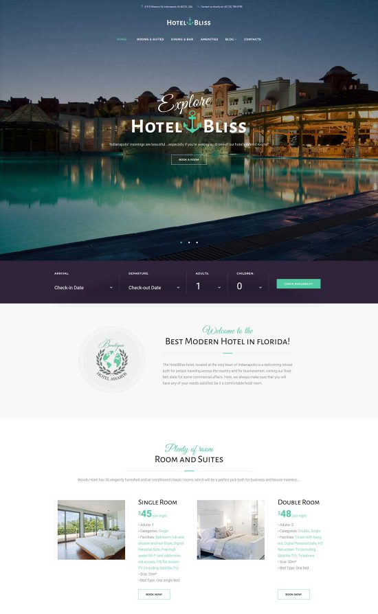 hotelbliss resort hotel wordpress theme
