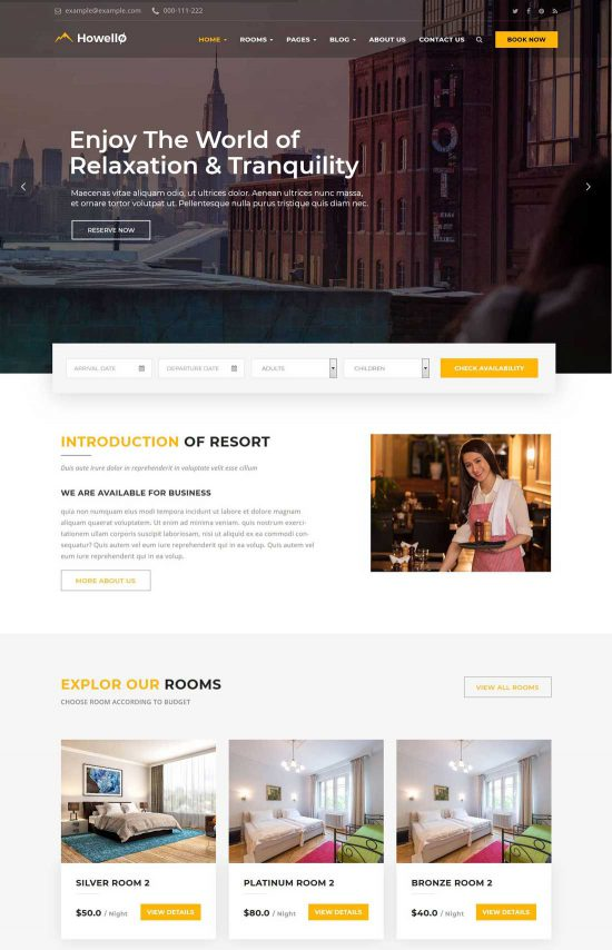 howello hotel resort wordpress theme