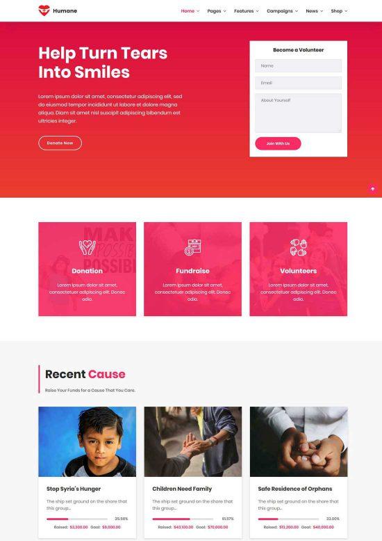 humane charity wordpress theme