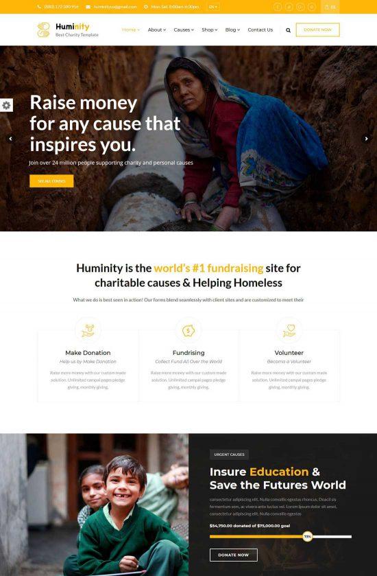 huminity charity fundraising wordpress theme