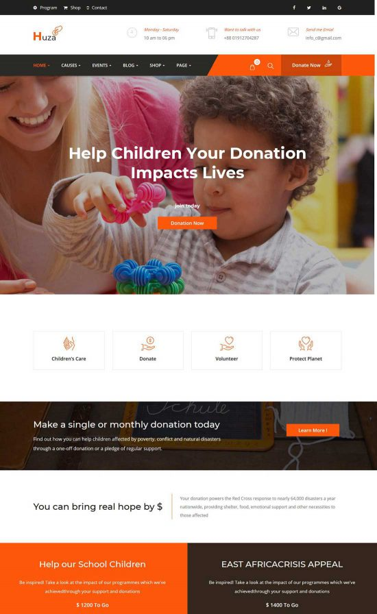 huza charity wordpress theme