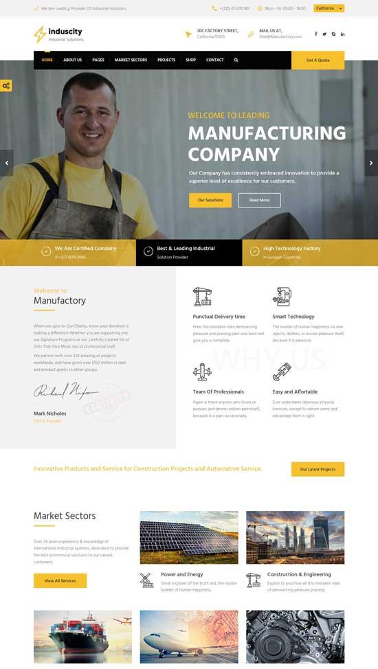 induscity factory wordpress theme
