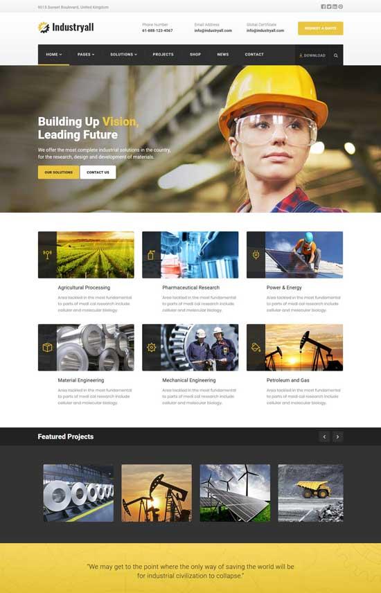 industryall industrial wordpress theme
