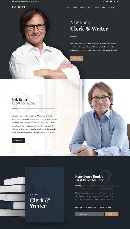 jack baker writer responsive wordpress theme