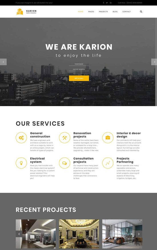 karion construction building wordpress theme