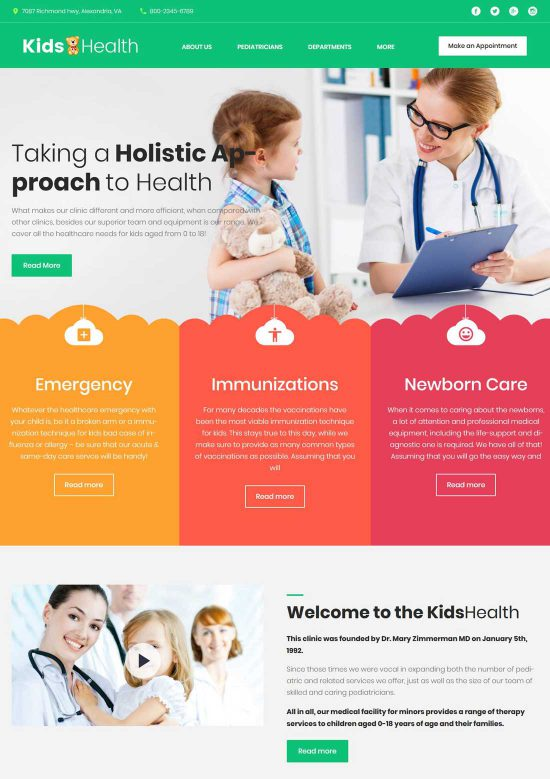 kidshealth kids clinic wordpress theme