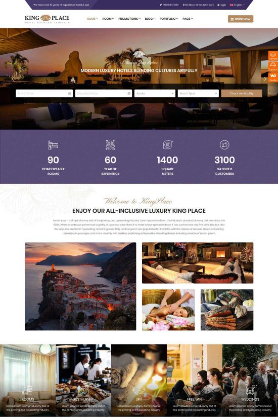 kingplace luxury hotel wordpress theme