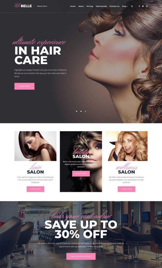 mabelle beauty salon wordpress theme