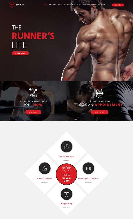 maruthi fitness wordpress theme