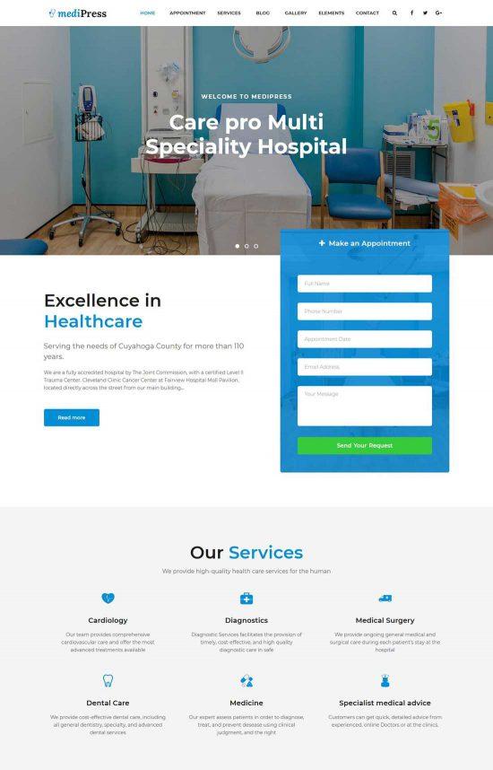 medipress health medical wordpress theme