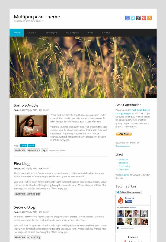 multip free responsive drupal theme