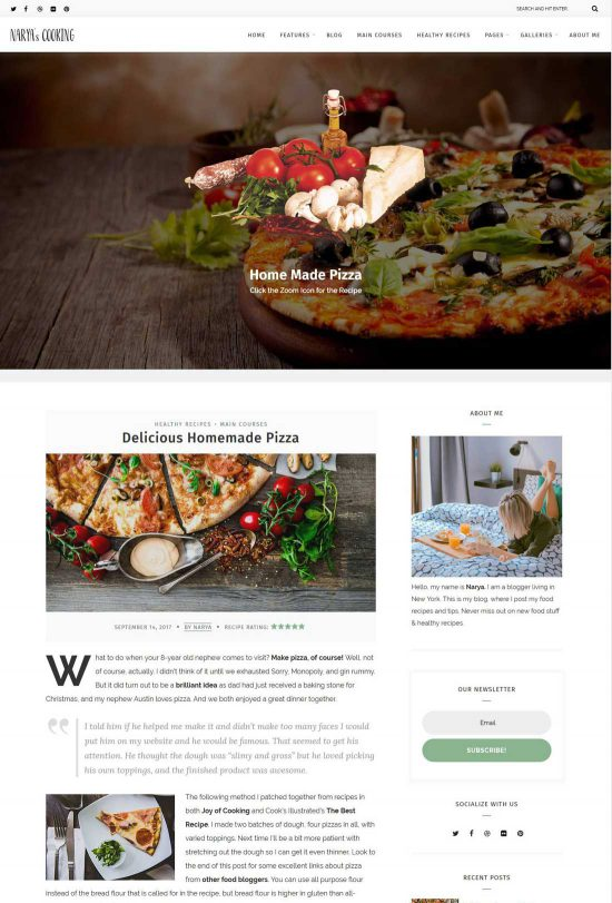 narya food blog wordpress theme