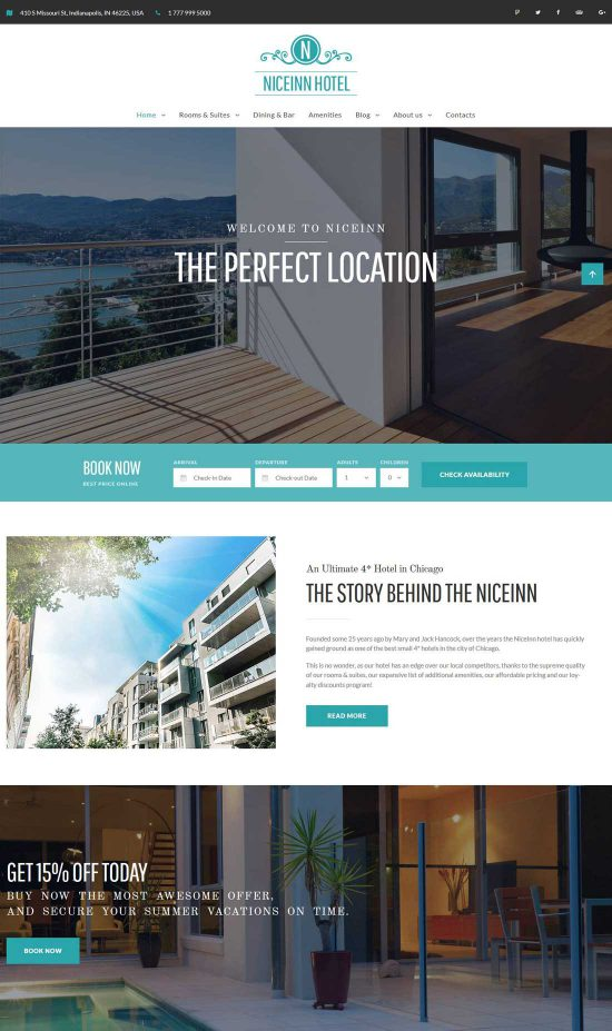 niceinn hotel responsive wordpress theme