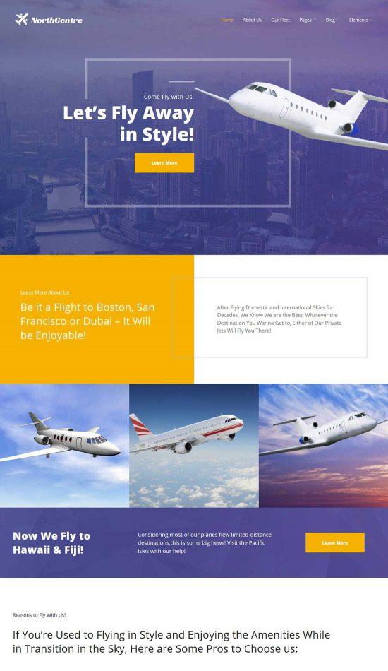north centre private airline wordpress theme