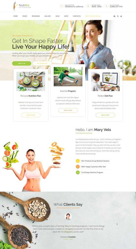 nutritia healthy nutrition wordpress theme