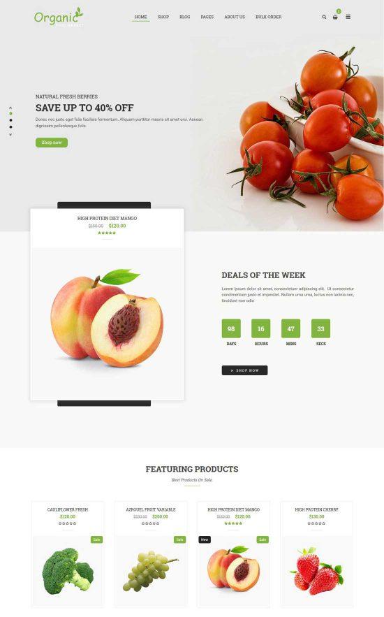 organico food market wordpress theme
