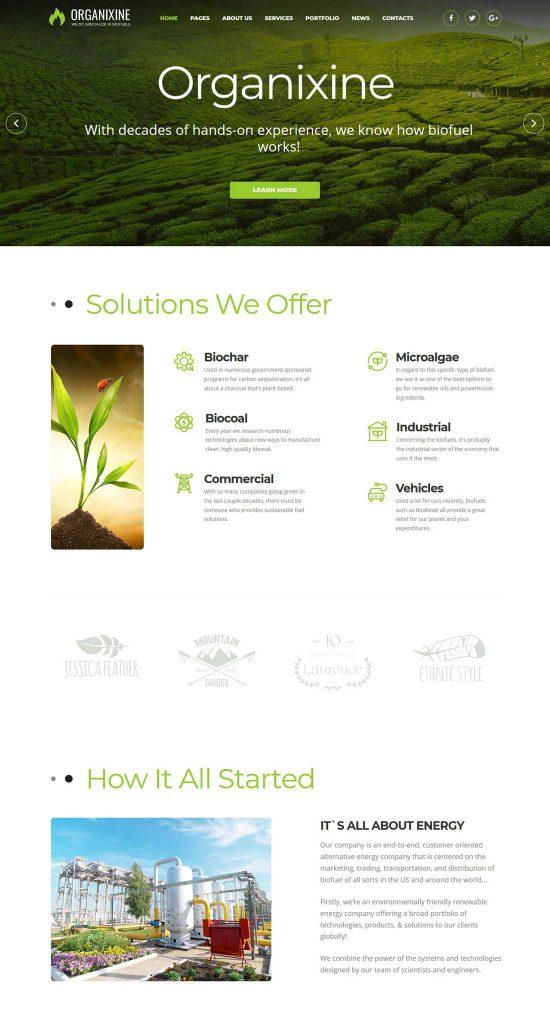 organixine biofuel company wordpress theme