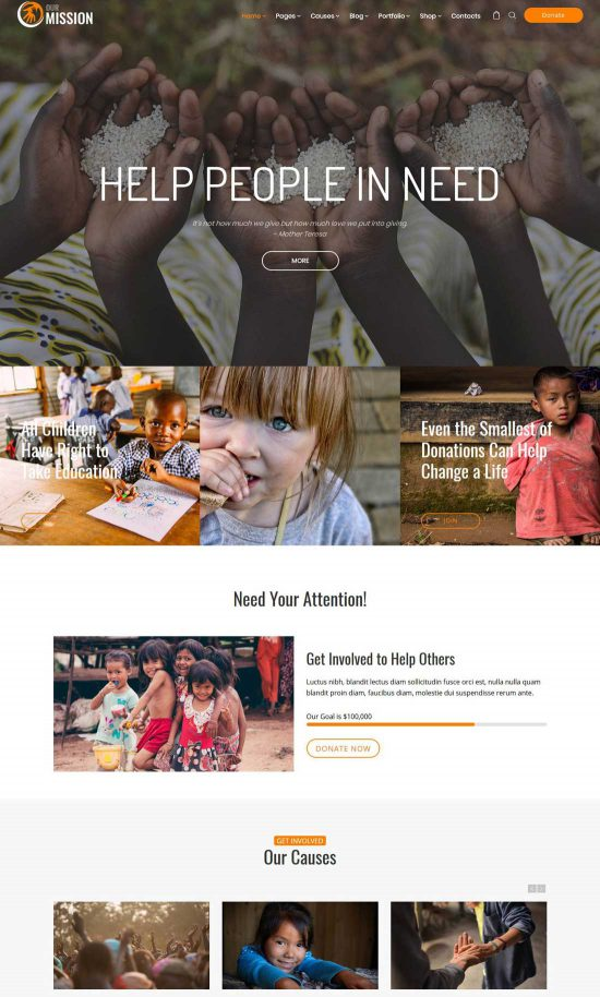 our mission charity wordpress theme