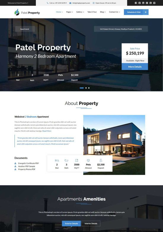 patel real estate wordpress theme