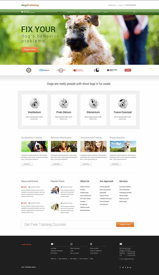 dog training WordPress theme