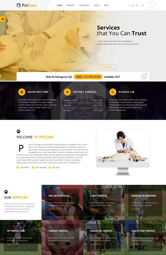 Petcare animal WordPress theme