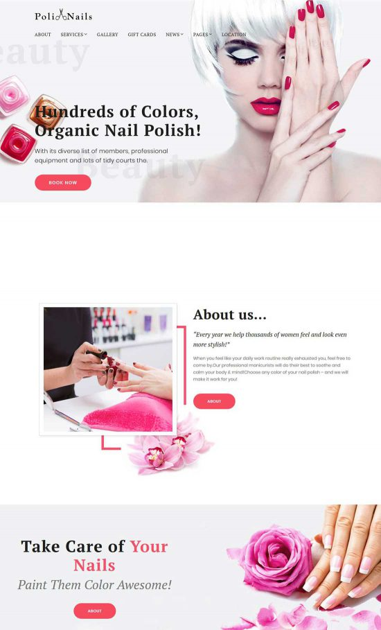 polinails nail salon wordpress theme