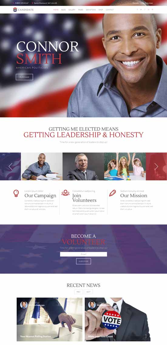 ANDIDATE diplomatic and political WordPress theme