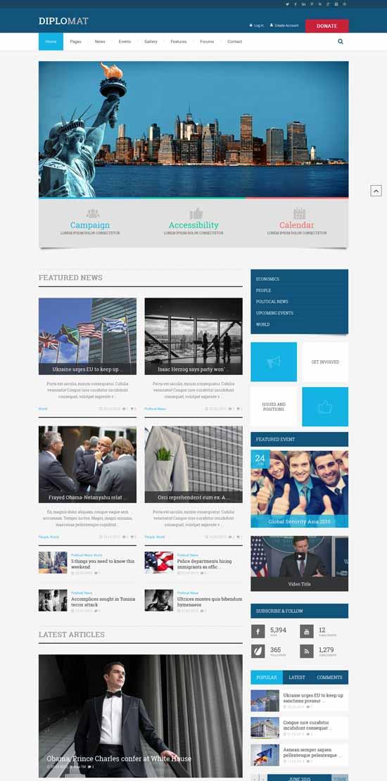 Diplomat Political WordPress Theme