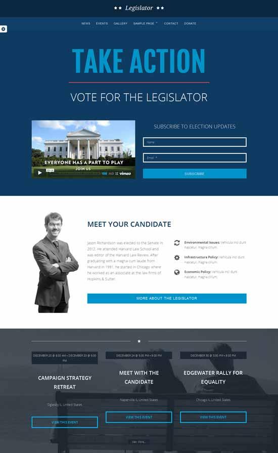The Legislator political WordPress theme