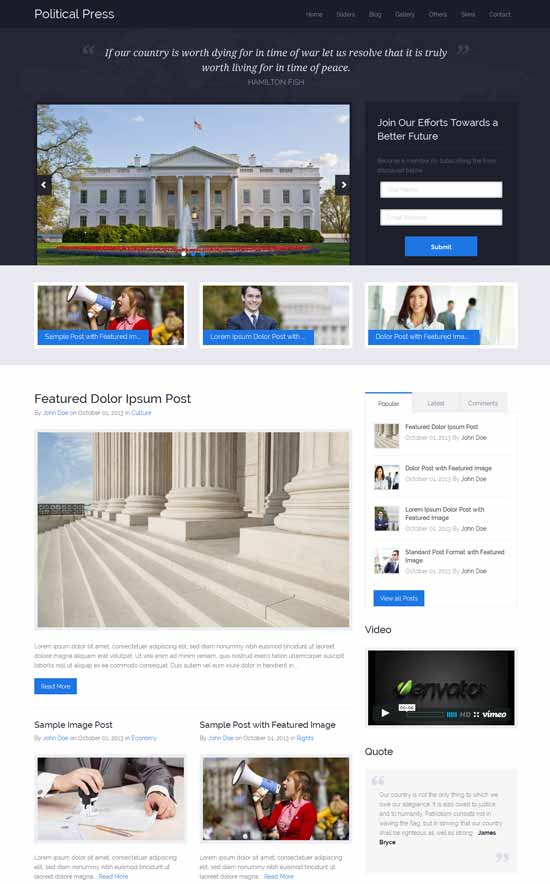 Political Press oriented WordPress theme for politics